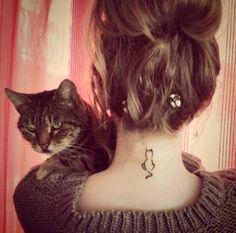 tiny cat tattoo on neck                                                       …