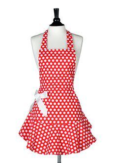 Jessie Steele Apron Josephine Red & White Polka Dot - cute apron minus the big bow