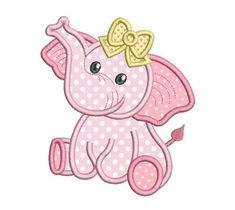 This baby girl elephant applique machine embroidery design is so cute. 3 design sizes are included with your purchase: hoops. Lots of popular machine formats. Step by step applique instructions are included. Baby Applique, Baby Embroidery, Machine Embroidery Applique, Applique Patterns, Applique Designs Free, Applique Templates Free, Applique Embroidery Designs, Embroidery Jewelry, Elephant Quilt