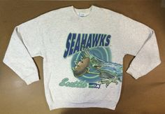 b231f141a Vintage SEAHAWKS Sweatshirt 1994  90 s SEATTLE NFL All-Over Print Shirt   UsA Made Football X-Large