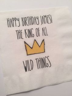Set of 25 Personalized Where the Wild Things Are Inspired The King of All Wild Things Theme Birthday Party Baby Shower Cocktail Napkins