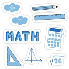 Decorate laptops, Hydro Flasks, cars and more with removable kiss-cut, vinyl decal stickers. Glossy, matte, and transparent options in various sizes. Super durable and water-resistant. Back to school with the cutest Light Blue Math subject stickers. Perfect gift for a kid, tween, teen or any age! Math text, Pencil, Ruler, Set Square, Bell Curve, Square Root,plus, minus and calculator. Perfect to decorate your books and planners. Check out my portfolio for all the individual subject versions as I Homemade Stickers, Diy Stickers, Printable Stickers, Laptop Stickers, School Binder Covers, School Book Covers, Journal Stickers, Planner Stickers, Tumblr Sticker