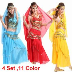Belly Dance Costume Bollywood Costume Indian Dress bellydance Dress Womens Belly Dancing Costume Sets Tribal Skirt 10 Color