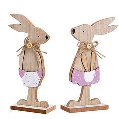 Set of 2 Easter Bunny Decoration Wooden Gentle Spring Rabbit Table Top Figurines #SmartDealsMarket #Easter