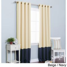 Solid Thermal Insulated Color Block Blackout 84-inch Curtain Panel Pair   Overstock.com Shopping - The Best Deals on Curtains