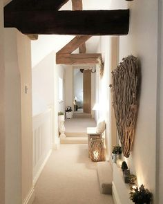 Converted Barn...landing open beams..wicker heart ... cosy.