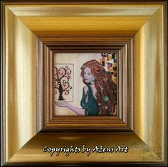 MINIATURE VIKTORIA Mixed media on canvas: 10 x 10 cm Frame: 24 x 24 cm