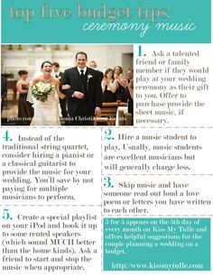 5 for 5: Top Five Budget Tips for the Ceremony Music
