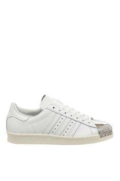 Adidas Superstar Degli Anni '80 Le Donne Dietro La Pelle Di Metallo Bianco.