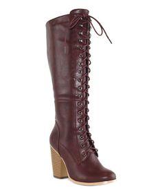 Look at this #zulilyfind! Burgundy Stanton Knee-High Boot by OLIVIA MILLER #zulilyfinds