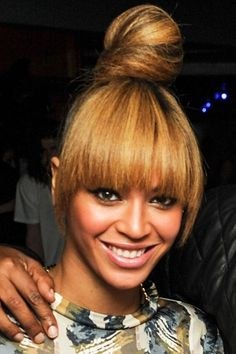 Beyonce high top knot. Full fringe. 2013