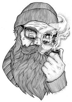 Illustrations by Thiago Bianchini - Ego - AlterEgo Hipster Illustration, Beard Art, Scratchboard Art, Beard Humor, Beard Tattoo, Texture Art, Illustrations Posters, Art Inspo, Sleeve Tattoos