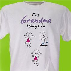 Personalized Grandmother T-shirt | Personalized Mother's Day T-Shirt from GiftsForYouNow.com