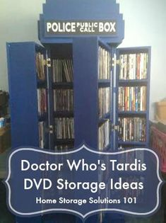Doctor Who inspired DVD storage bookshelf made to look like the Tardis. How cool is that? {featured on Home Storage Solutions 101}