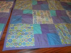 "Modern Baby Quilt Set for Twin Girls - Purple, Aqua, Blue, Lime Approx 36"" x 36"" Very Cute Set for Nursery!"