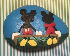 Hand Painted Disney Mickey & Minnie Mouse love painted rock