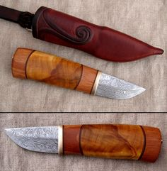 Pattern welded knife, this time with bit smaller blade. Fittings are bronze, handle is made from birchburl and some unknown wood. Between woods there is leather. Sheath is also leather, with wooden...