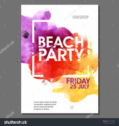 Summer Night Party Vector Flyer Template - Eps10 Design. Polygonal Graphic. Watercolor Spot. - 271234658 : Shutterstock