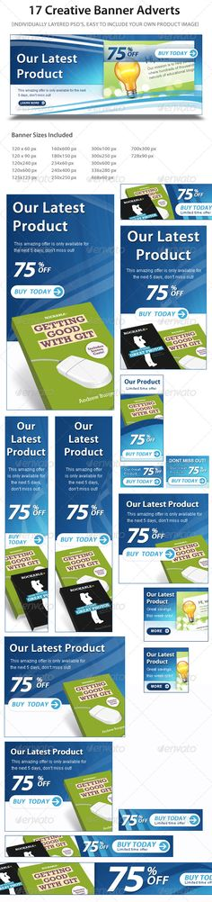 17 Web Marketing Banner Ads   #GraphicRiver         This pack includes 17 unique web banners, ideal for online marketing and product promotion. Each of the 17 banner ad's comes in a separate PSD file and has been designed specifically to fit it's respective size.  	 The pack includes the following industry standard banner sizes:  	 120×60 px 120×90 px 120×240 px 120×600 px 125×125 px 160×600 px 180×150 px 234×60 px 240×400 px 250×250 px 300×100 px 300×250 px 300×600 px 336×280 px 468×60 px…