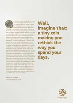 Congratulations to DDB Group Germany (Berlin) on winning Bronze in Copywriting & Storytelling for Volkswagen AG at the 2017 Epica Awards Advertising Awards, Print Advertising, Advertising Ideas, Street Marketing, Guerilla Marketing, Marketing Ideas, Ads Creative, Creative Advertising, Volkswagen
