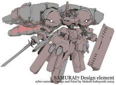 サムライ7より、紅蜘蛛全身パース設定に色指定彩色。監督の命名前は「暁」という名称。2005年。