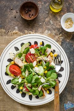 Salad with chicken and cheese Chicken Salad, Caprese Salad, Cheese, Recipes, Food, Salads, Eten, Recipies, Ripped Recipes