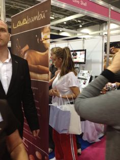 Katie Price with her Spa Find bag of goodies  @ PB2012.  In USA, www.shopforspatrade.com