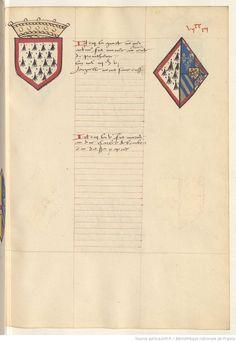 Coat of arms of Olivier, Count of Penthièvre and of Isabelle of Burgundy. Receuil de la généalogie de la noble maison de Luxembourg.