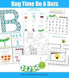 Free Preschool Do a Dot Printables: Bugs from Crystal & Co.