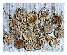 Natural Ornaments Crafted From Wooden Branch Slices, brown felt, cardboard, beads, buttons...