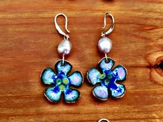 Hand made enamel flower earring with semi precious by ViragDesign Enamel Jewelry, Jewellery, Flower Necklace, Happy Shopping, Piercing, Art Pieces, Copper, Pairs, Drop Earrings