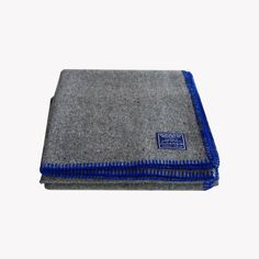 Faribault Mills Recycled Wool Throw in Royal Blue Whipstitch