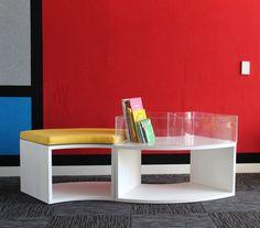 A recent install in a school library in Auckland Custom Shelving, Seat Storage, Auckland, School, De Stijl, Custom Bookshelves