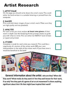 Artist Research Page help Sheets High School Art, Middle School Art, Gcse Art Sketchbook, Sketchbook Ideas, Sketchbooks, A Level Art Sketchbook Layout, Sketchbook Inspiration, Artist Research Page, Art Analysis