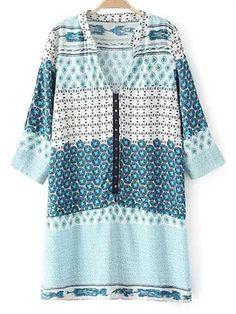 V Neck 3/4 Sleeve Shift Dress - LIGHT BLUE XL