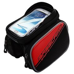 Bike Handlebar Bags - GranVela Cycling Bike Front Frame Bag Tube Pannier Double Pouch Bicycle Front Tube Cell Phone Bag with Touch Screen Phone Case -- You can get additional details at the image link.