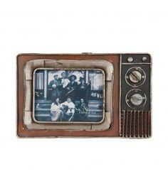Portafotos de metal en diseño de televisor antiguo.