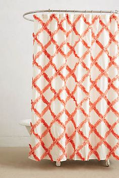 Ruffled coral shower curtain | Anthropologie Home