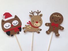 Excited to share this item from my shop: Christmas owl, reindeer, and gingerbread cupcake topeprs Christmas Gingerbread Men, Christmas Owls, Christmas Gifts For Kids, Christmas Projects, Christmas Parties, Diy Xmas Ornaments, Gingerbread Cupcakes, Cookie Decorating Party, Christmas Party Decorations