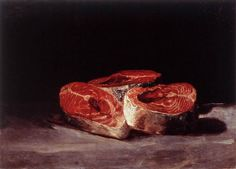 "drawpaintprint: "" Francisco Goya: Still-Life with Three Salmon Steaks Oil on canvas, 45 x 62 cm Oskar Reinhart Collection, Winterthur "" Francisco Goya, Winterthur, Goya Paintings, Spanish Artists, Manet, Still Life Art, Oil Painting Reproductions, Contemporary Paintings, Be Still"