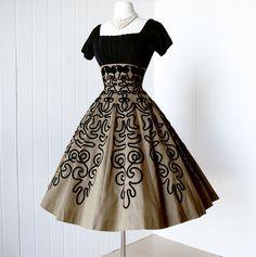 vintage 1950's dress ...gorgeous golden bronze SOUTACHE by traven7