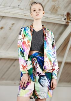 Klements luxury ethical printed womenswear, scarves and interiors. Silk Bomber Jacket, Textile Patterns, Slow Fashion, Scarf Styles, Cotton Dresses, Cashmere, Kimono Top, Women Wear, Printed Silk