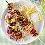 Chicken Kebabs with Yogurt-Tahini Sauce Recipe   MyRecipes.com