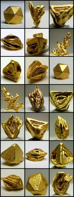 Crystallized Gold, native gold with geometric crystals visible to the naked eye. These are very rare, and are highly valued by collectors. Among some shapes are: octahedron, trigon, cubic, and hoppered, (gold that forms step like structures otherwise known as chevrons.)