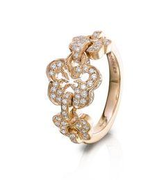 Boodles Blossom Triple Rose Gold Diamond Ring