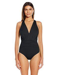Badgley Mischka Women's Solid Dip Back Maillot One Piece Swimsuit - http://darrenblogs.com/2016/02/badgley-mischka-womens-solid-dip-back-maillot-one-piece-swimsuit/