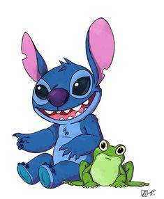 Stitch N Frog by NicParris on DeviantArt Frog Drawing, The Black Cauldron, Lilo And Stitch, Stencils, Disney Characters, Fictional Characters, Character Design, Deviantart, My Favorite Things