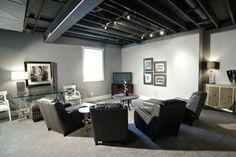 Elegant Black Basement Ceiling