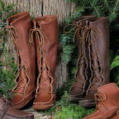 Footskins Mens Cowhide Knee High Moccasin Boots - Mens Moccasins at Moccasins