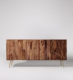 Swoon Editions Sideboard, contemporary-style in rosewood and brass - £549